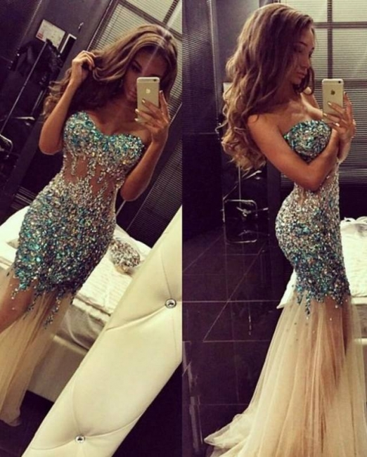 Crystal Sweetheart Mermaid Tulle Eveining Dress New Arrival Long Formal Occasion Dresses