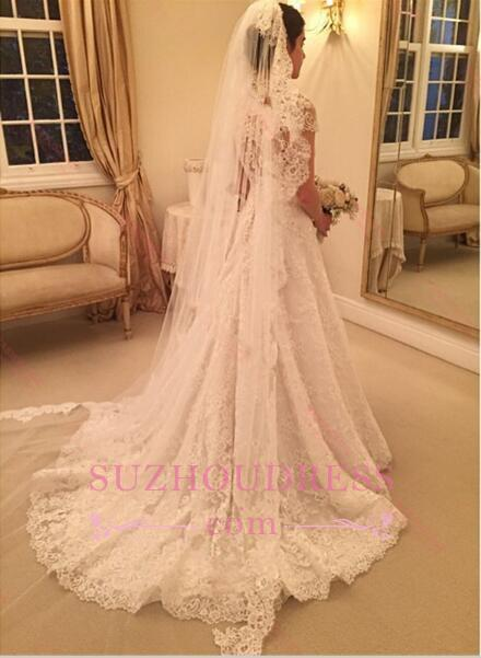 Newest Sweep-Train Zipper Short-Sleeve A-line Lace Wedding Dress BD034