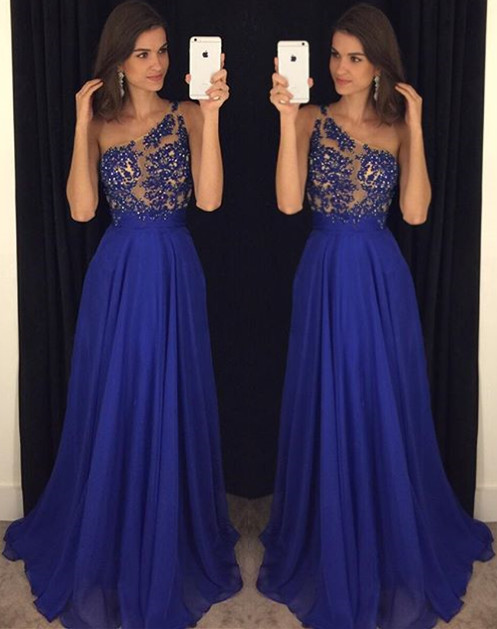 Royal Blue One Shoulder Beading  Prom Dress Latest A-Line Chiffon Party Dresses