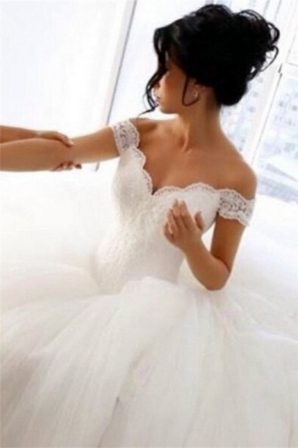 Off The Shoulder Lace Wedding Dresses  Princess Ball Gown Tulle Skirt Bride Dress
