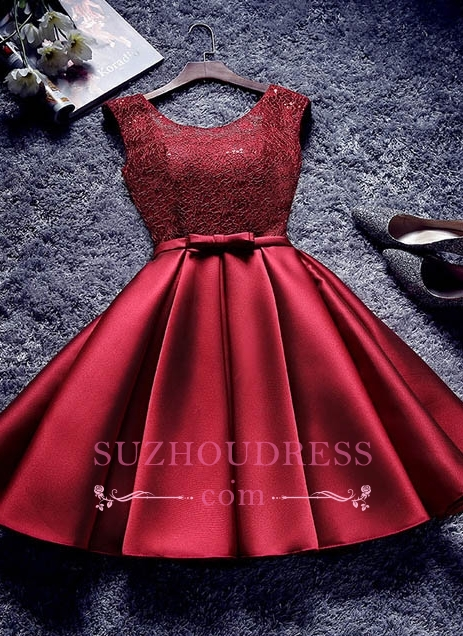 Red Lace-Up-Back A-line Homecoming Dresses Bowknot-Sash BA7429