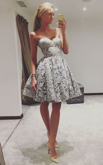 Simple Lace Short Homecoming Dress | Sweetheart A-line Simple Hoco Dress