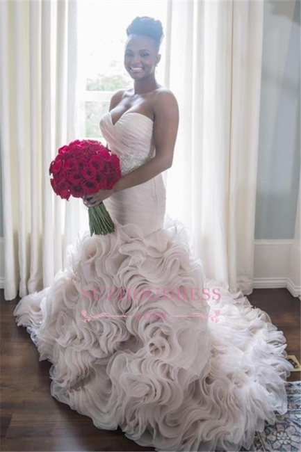 Organza Sweetheart Ruffles Sheath Court-Train Open-Back Wave-Design Sleeveless Wedding Dress