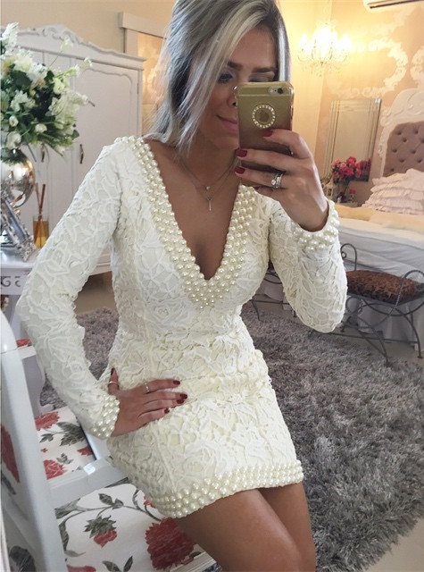 Sexy V-Neck Long Sleeve Mini Cocktail Dress with Beadings Popular Open Back Plus Size Evening Dress BMT015