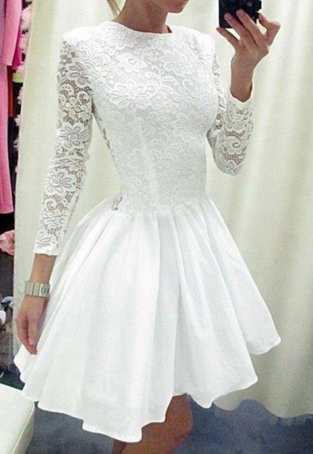 A-Line White Long Sleeve Mini Homecoming Dress Latest Formal Lace Zipper Short Dresses for Women BA3670