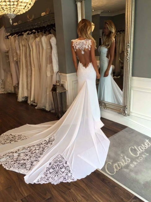 Open Back Sheath Wedding Dresses Sleeveless Vintage Lace Bride Dress