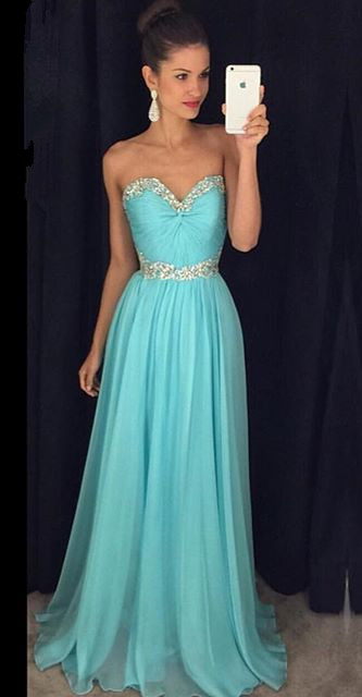 Sweetheart Beaded Crystals  Long Evening Dresses Chiffon Blue Prom Dress GA066