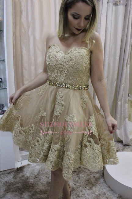 Short Sleeveless Homecoming Dress | Crystals Lace Sweetheart Party Dresses