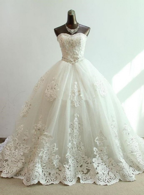 Sequined Lace-Up Sweetheart  Wedding Dresses Charming Sleeveless Ball Gown Bridal Dresses