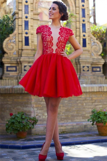 Cap Sleeves Lace Homecoming Dresses Red  Open Back  Hoco Dress HC0012