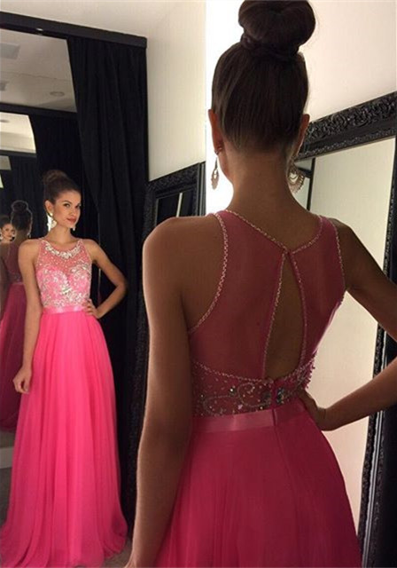 Fuchsia Crystal Tulle Prom Dress Halter A-Line Beading Evening Gown