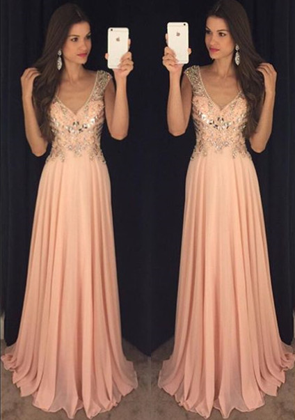 Elegant A-Line Crystal Chiffon Prom Dress Plunging Neck Beading  Party Dresses