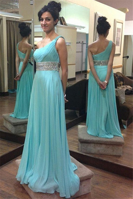 Sleeveless Beading One-Shoulder Evening Dress Blue Beaded Belt Prom Dresses