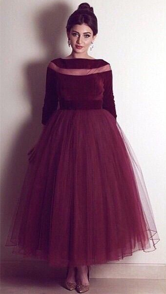 Burgundy Tulle Ankle Length  Prom Dress Bateau Velvet Long Sleeve Evening Dress BA4254