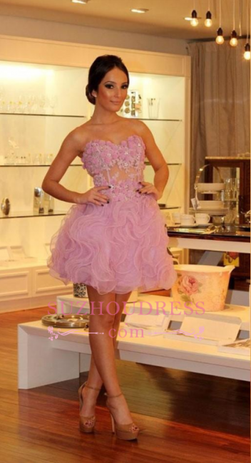 Sexy Pink Organza Strapless  Homecoming Dresses | Short Flowers Hoco Dresses