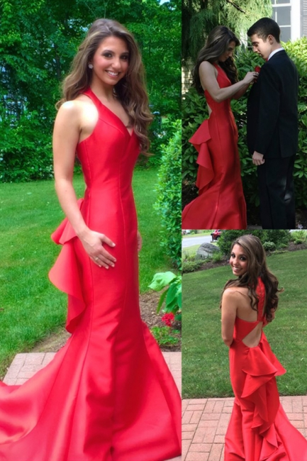 Sleeveless Mermaid Long Prom Dresses  Red Halter Evening Gown