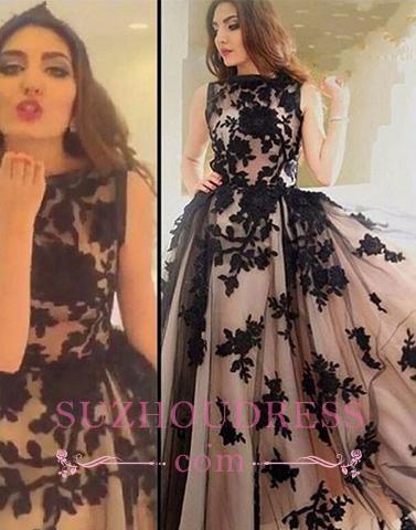 Scoop-Neckline Ball-Gown  Apppliques Elegant Sweep-train Prom Dress