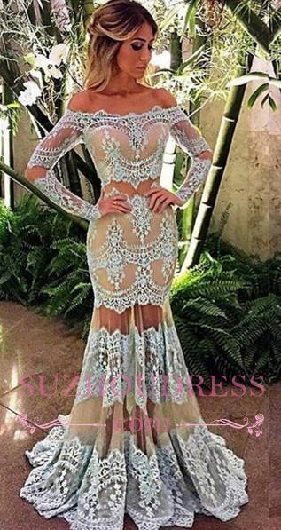 Mermaid Sheer Off-Shoulder Formal Evening Dress Lace Long Sleeve  Prom Dress BA4074