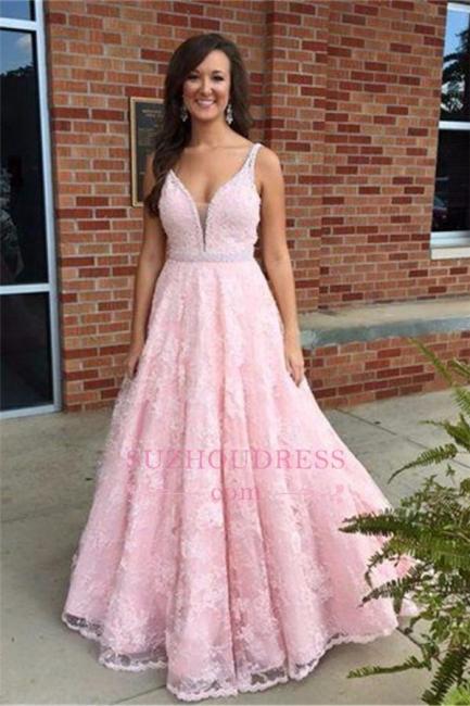 Elegant Sleeveless Lace V-Neck Pink Crystal Prom Dress
