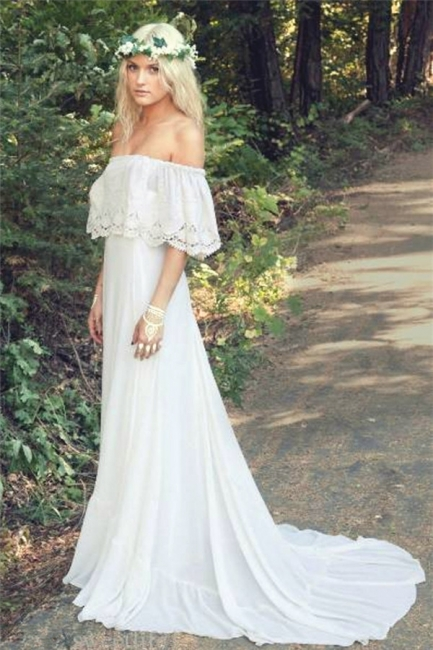 Off The Shoulder  Bohemian Wedding Dresses Lace Summer Beach Wedding Gown BO6883