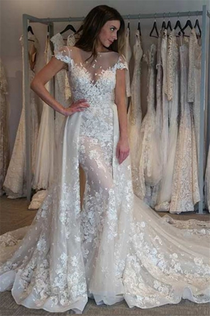 Illusion Cap Sleeves Bride Dresses  Gorgeous Lace Appliques Overskirt Wedding Gowns