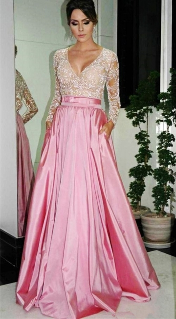 Sexy V-Neck Long Sleeve Lace Evening Dress Simple Pink Custom Made Popular Prom Dress
