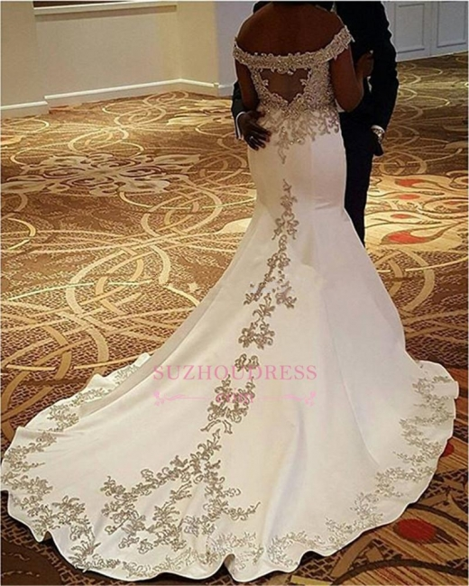 Satin Sexy Off-the-Shoulder Mermaid Lace Court-Train Wedding Dresses