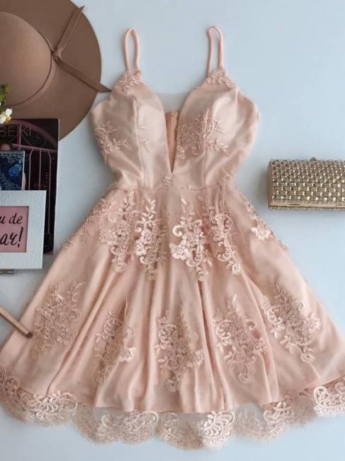 Elegant A-line Spaghetti Straps Homecoming Dresses  Short Zipper Party Dress