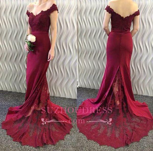 Mermaid Off-the-Shoulder Burgundy Evening Dresses  Lace Appliques Long Prom Dresses BA3997