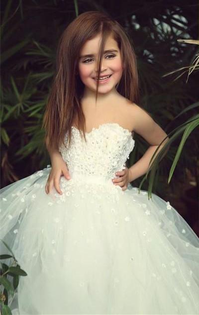 Cute White Sweetheart Lace Flower Girl Dress A-Line Tulle Long Sleeveless Dresses for Girls BA5056