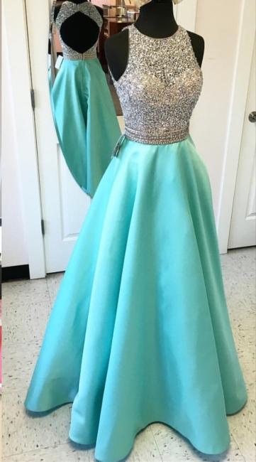 A-line Satin Floor Length Beaded Sequins Evening Gowns Open Back Sleeveless Prom Dress