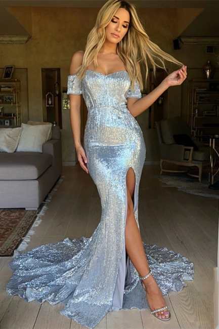 Sexy Side Slit Shiny Sequins Evening Dress | Off The Shoulder  Formal Dress