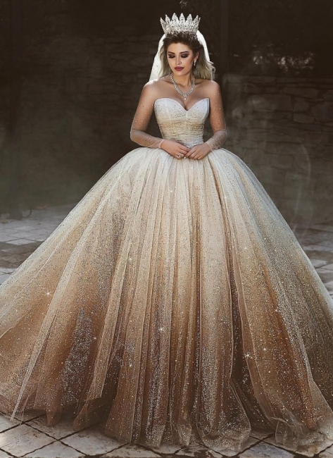 Scoop Long-Sleeves Wedding Dresses with Sequins Tulle Floor-Length Bridal Gowns Online