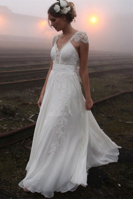 V-neck Summer Outdoor Wedding Dress Lace Cap Sleeve Open Back Bridal Gowns