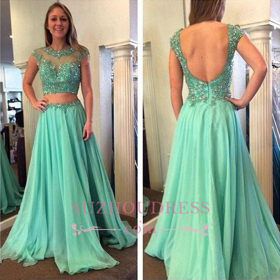 Cap Sleeve A-line Open Back Evening Gown Jewel Beading Long Prom Dress