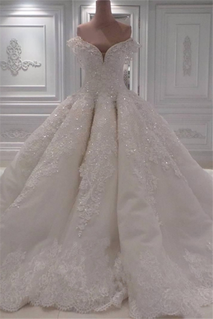 Affordable Ball Dresses Wedding Dresses Off The Shoulder Lace Bridal Gowns On Sale