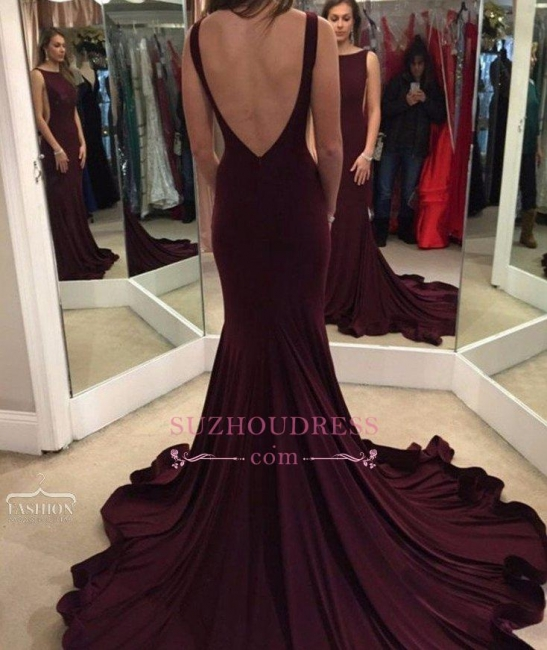 Court Train Backless Evening Gown Sheath Sexy  Maroon Prom Dress