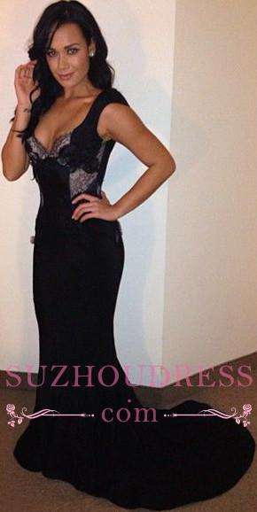 Mermaid Backless Black Sweep-Train Sexy Lace Evening Dresses