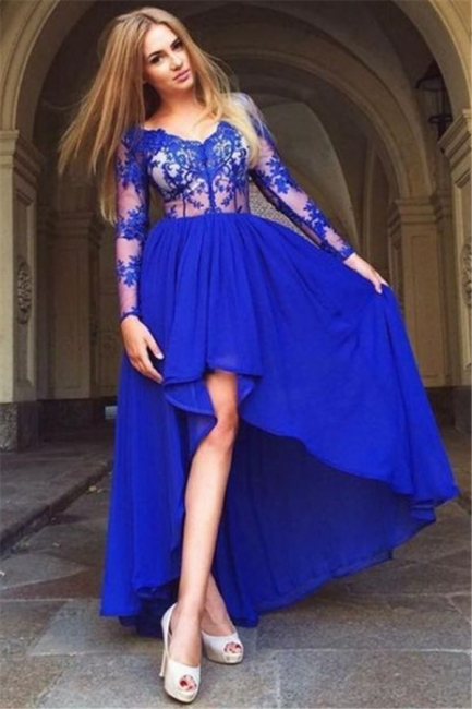 Sheer Royal Blue Hi-Lo Evening Dresses |  Long Sleeves Appliques Prom Dresses