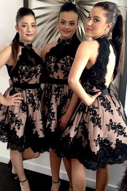 High Neck Black Lace  Short Bridesmaid Dresses