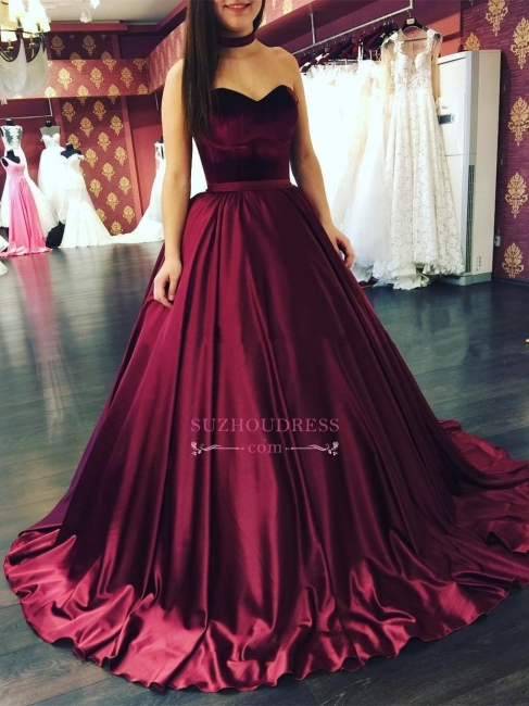 Elegant Sweep-Train Sleeveless Evening Gowns  Puffy Sweetheart Prom Dresses