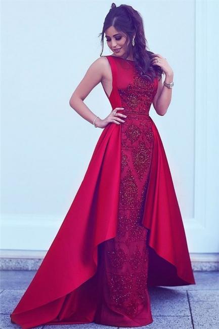 Beads Sequins Popular Evening Dresses Overskirt Red Sleeveless Sexy Formal Dress  BA7428