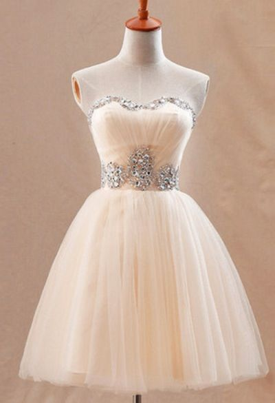 Strapless Cute Tulle Short Homecoming Dresses Crystal Beading  Lovely Prom Dresses