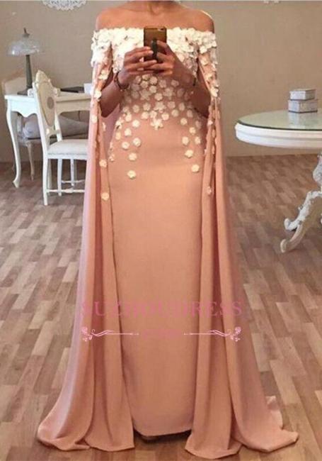 Long Floor Length Designer Cape Evening Dresses  Appliques Flowers Glamorous Prom Dress