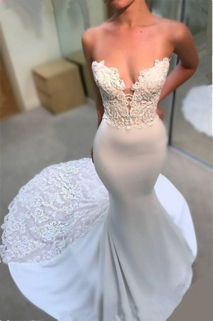 Glamorous Mermaid Open Back Wedding Dresses Strapless Lace Bridal Gowns Online