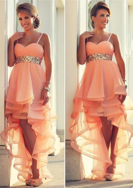 Empire Orange Spaghetti Strap Hi-Lo Evening Dress with Beaings Latest Organza Formal Occasion Dresses