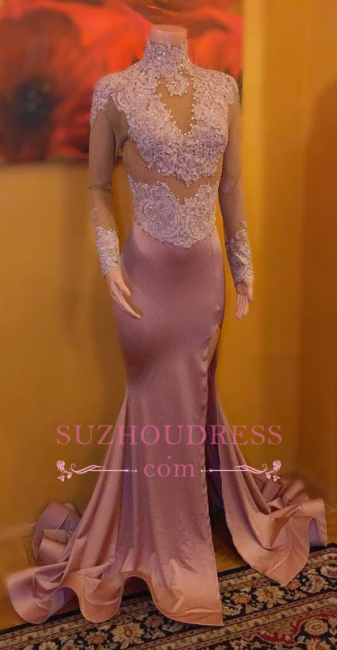 Sexy Lace-Appliques High-Neck Prom Dresses | Mermaid Split Long-Sleeves Evening Gowns
