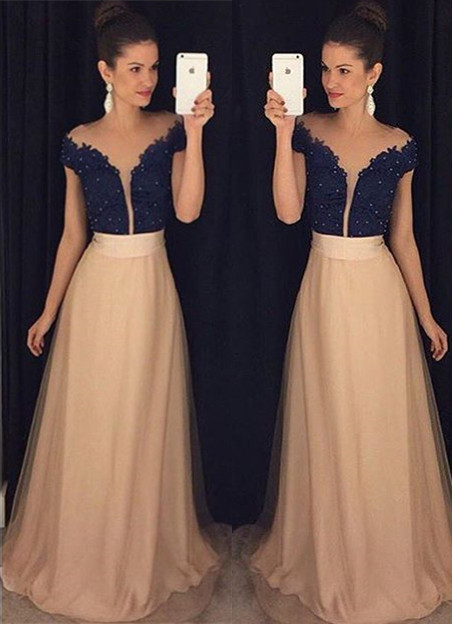 New Arrival Short Sleeve Lace Prom Dress with Beading Custom Made A-Line Evening Gown