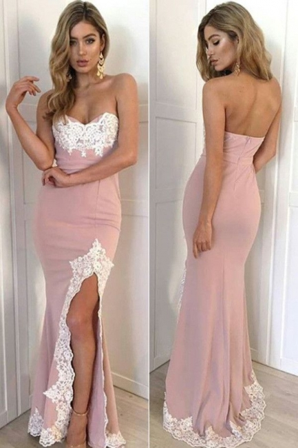 Sweetheart White Lace Appliques Formal Dress  Pink  Side Split Evening Gown BA6451