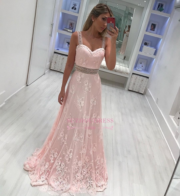 A-line lace prom dresses  | Pink Strape Crystal Evening Gowns